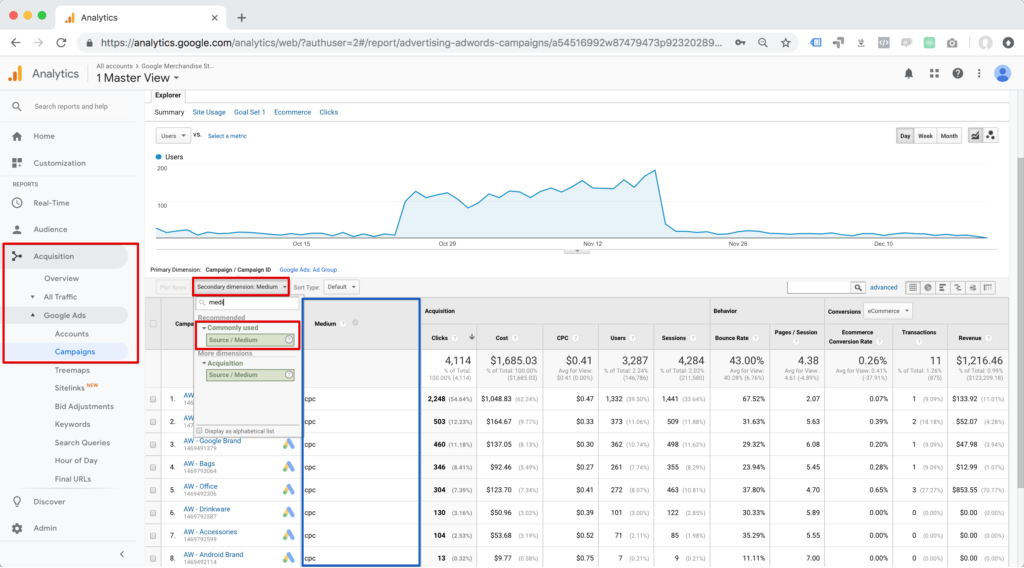 Google Analytics sekundäre dimension filtern 2019