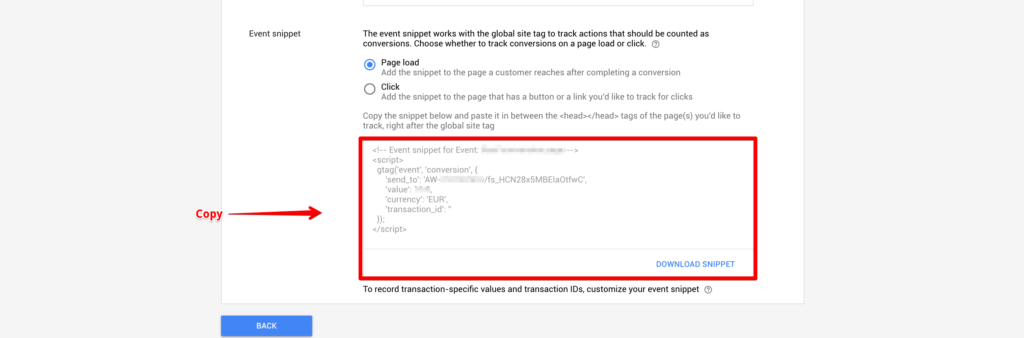 Google Ads Conversion connection
