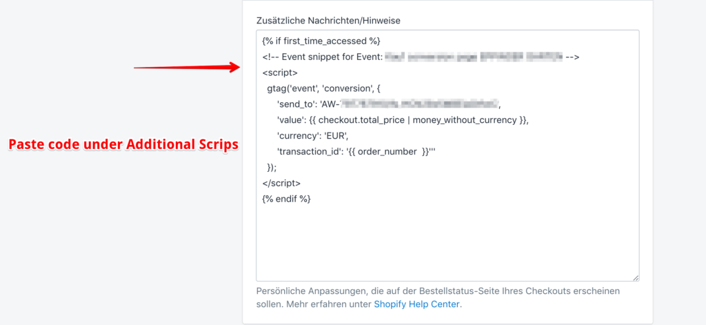additional scrips conversion tracking shopify