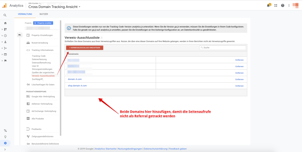 referral ausschlussliste, google analytics, tracking, cross-domain-tracking